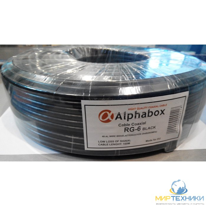 Кабель ALPHABOX RG-6 100m Black